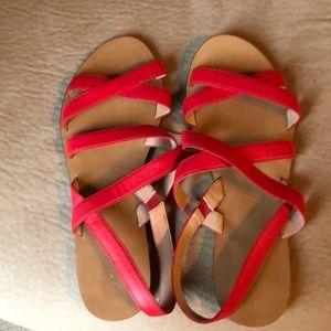J Crew Basic Leather Cross sandals-bright cerise